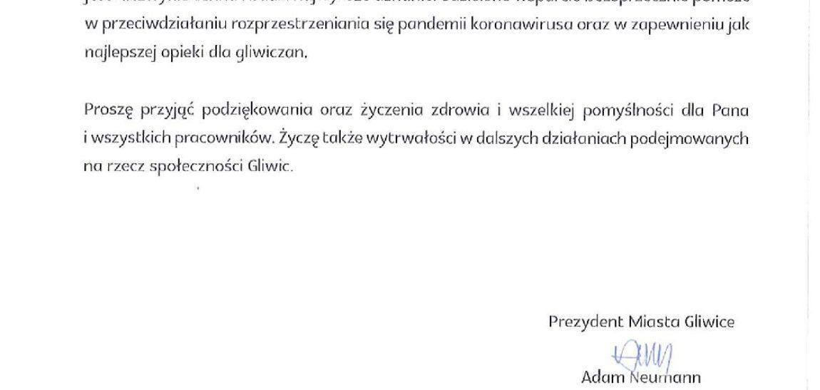 Podziękowania od Prezydenta Miasta Gliwice